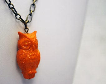 Sunset Orange Owl Necklace in Antique Brass - Vintage Lucite Necklace, Limited Edition Necklace, Woodland, Bird Necklace, Fall, Autumn