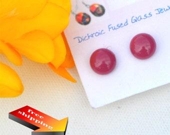 59 Fused glass earrings, salmon, dusty purple