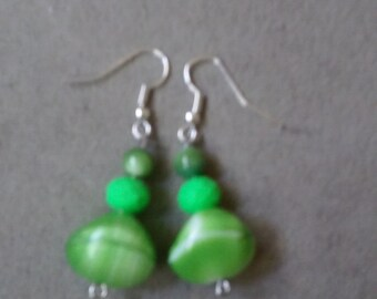 Green and White Stone Beaded Earrings