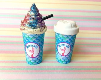 """American Food 18"""" Girl Doll Mermaid Drink: Take Out Coffee Cup Starbucks Inspired Accessory w/Lid or Rainbow Whip Mini Mermaid Cafe Beverage"""