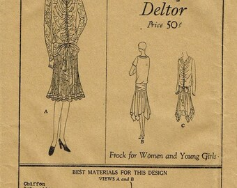 1920s Flapper Dress Wedding Day Evening V Neck Handkerchief Hem Shirred Butterick 2066 FF Unused Bust 36 Womens Vintage Sewing Patterns