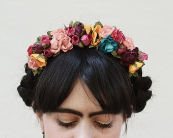 Frida Flower Crown, Mexican Flower Headband, Fiesta, ColorfulFloral Crown, Flower Headpiece, Festival Clothing, Bohemian, Kahlo,Free People