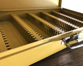 Vintage Slide Box . Kenco . Metal Storage Box . Gold  . Industrial Metal Box . Mid Century Office . Desktop Storage Box . Parts Storage