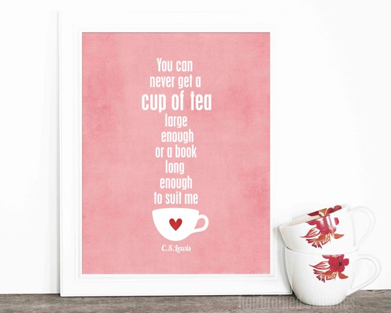 Tea Poster Typographic Digital Art Print A Cup Of Tea And A
