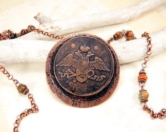 Copper Coin Necklace with antique coin 5 kopecks 1837