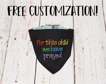 Rainbow Baby Pregnancy Announcement- Rainbow Baby Dog Bandana -Pregnancy Reveal After Loss -Rainbow Pregnancy -For This Child We Have Prayed