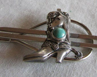 Silver and Turquoise Cowboy Boot Tie Bar