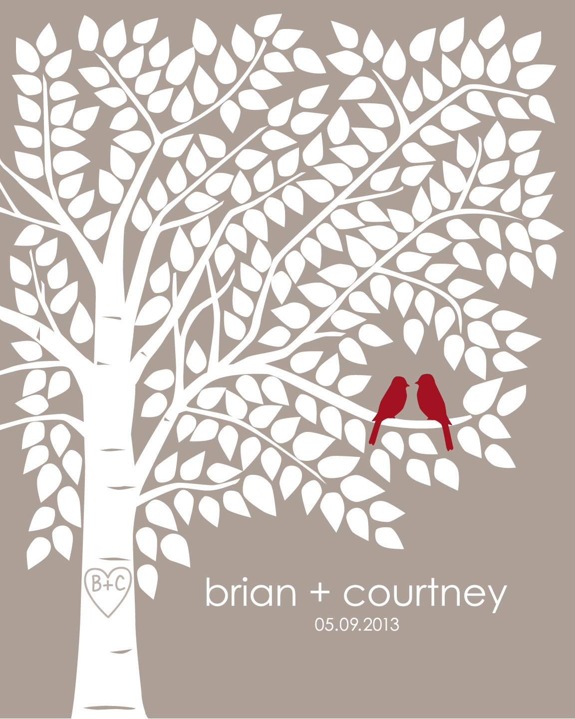Wedding Tree Guest Book: Guest Book Tree Personalized Wedding Print 16x20 220