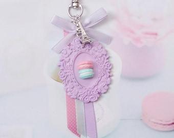 keychain pastel macarons polymer clay