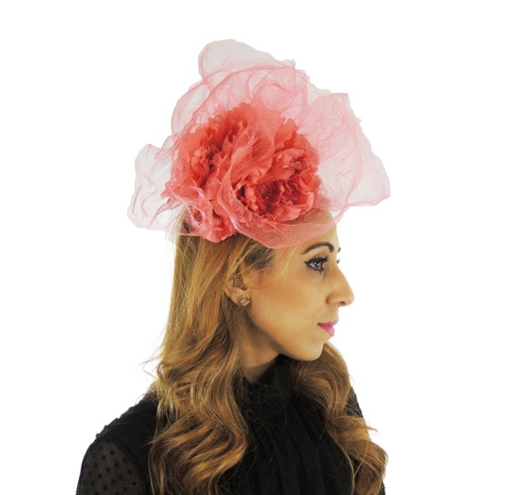 Coral Pink Feridhoo Fascinator Hat For Kentucky Derby Ascot