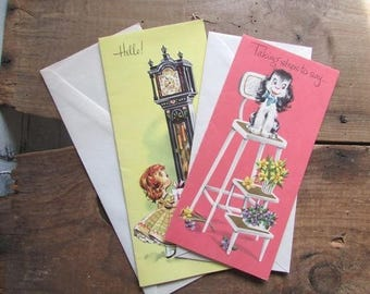 Two Vintage Greeting Cards Birthday and Get Well Card