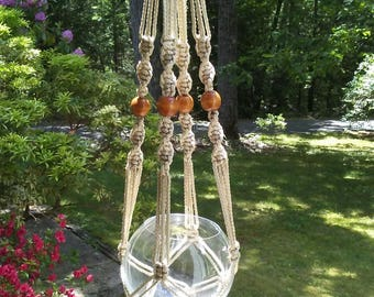Macrame Plant Hanger in Pearl, off white, sand, beige 6 mm Polyolefin cord with brown wooden beads, beaded neutral flower hanger,  MS6BP