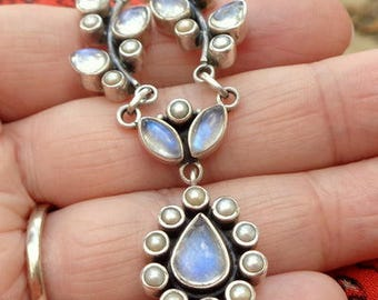 Rainbow Moonstone, Pearl, Vintage Nicky Butler, Sterling Silver Necklace, Blue Flash, Natural Gemstones