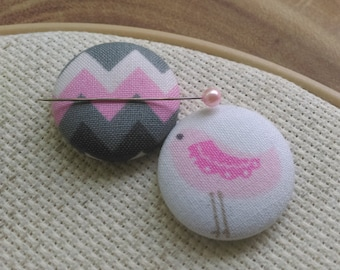 Needle Minder Bird, Chevron, Pink Gray /  2 Piece Reversible Scout and Remy , Cross Stitch, Gift, Sewing, Embroidery
