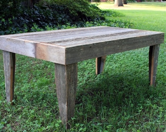 """Rustic Outdoor Coffee Table. Gray Wood Coffee Table. Outdoor Coffee Table. Natural Finish Coffee Table. 39""""l x 22""""w x 17""""t. Natural Finish."""