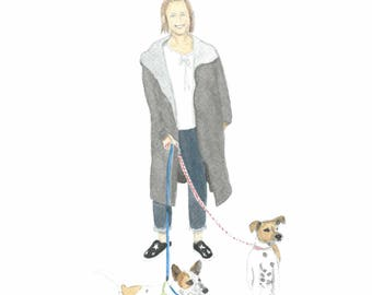 Custom made portrait with a person and two pets. This is an example.