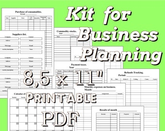 """Template Business Planner 8.5"""" x 11"""", Letter Size Printable Home Business Planning Organizer Filofax Planner Inserts Weekly Monthly Calendar"""