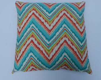 Flame Stitch Pillow.Linen and cotton fabric, full of colors