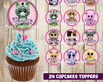 24 Beanie Boo Cupcakes Toppers instant download, Printable Beanie Boo party cupcakes Topper, Beanie Boo toppers Party printable, 2 INCHES