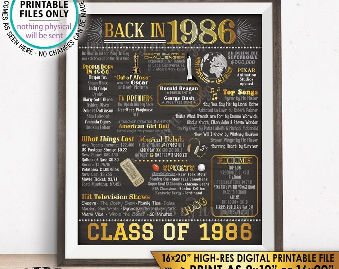"Class of 1986 Reunion 32 Year Reunion Back in 1986 Flashback to 1986 32 Years Ago, Gold, PRINTABLE 8x10/16x20"" Chalkboard Style Sign <ID>"
