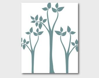Tree Print, Abstract Tree Art, Instant Download, Modern Art, Simple Decor, Blue Wall Art