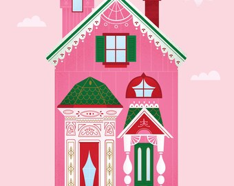 Pink Victorian House Print
