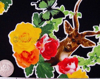 DEER COLLAGE Black Graphic Japanese Quilt Fabric - Trefle Japan Bird Bunny Butterfly deer flowers roses Goldfinch buck antlers yellow pink