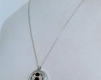 SALE Silver Soccer Ball Magnetic Closure Locket Essential Oil Aromatherapy Diffuser Necklace