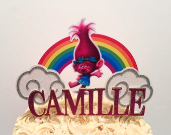 Poppy Troll Cake Topper, poppy troll birthday decorations, poppy troll party decorations, poppy troll party supplies,