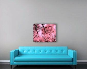 Nature Photography Pink Canvas Art, Large Canvas Wall Art, Moon and Stars