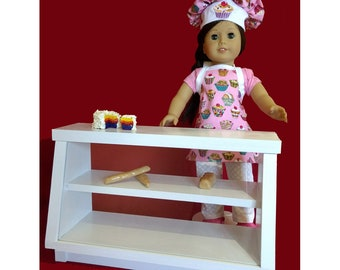 """Pastry or Bakery Wooden Display Case for American Girl or 18"""" Doll Food Sample Included"""