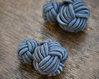 Silk Knot Cufflinks - Dark Grey