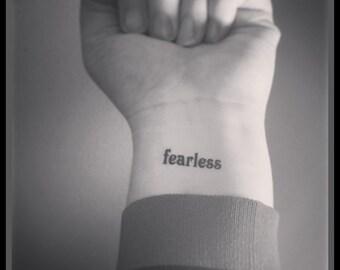 fearless temporary tattoo fake tattoo word tattoo wrist tattoo