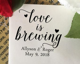 Love is Brewing Stamp, Wedding Favor Stamp, Coffee Stamp, Tea Stamp, Wood Stamp, Custom Wedding Stamp, Personalized Wedding Favor Stamp