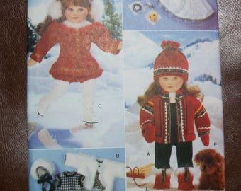 "Vogue 9579 18"" doll winter wardrobe plus stuffed dog"