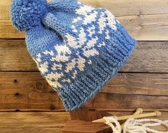 Adult hand knit fair isle snowflake pom hat