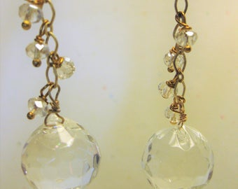 Clear faceted dangle earrings