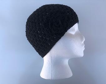 READY TO SHIP/Black Hat/Lightweight Cotton Hat/Crochet/Knit Hat/Soft/Cute/Pretty Spring Summer Hat/Cap/Beanie/Toque/Flower Hat/Adult/Women
