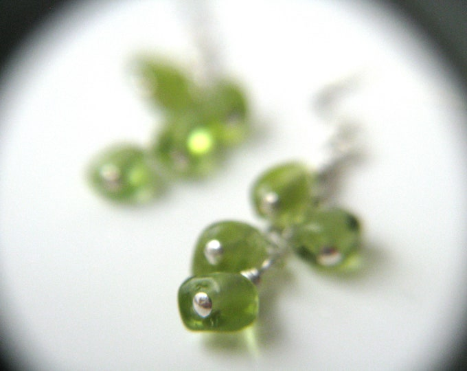 Featured listing image: Natural Peridot Earrings Silver . August Birthstone Jewelry NEW