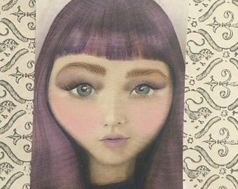 Asian Big-Eyed Pop Surreal Purple Hair Girl Art Painting