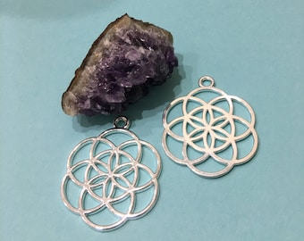 SEED of LIFE set of TWO (02) Silver Plated Pendant-Charms