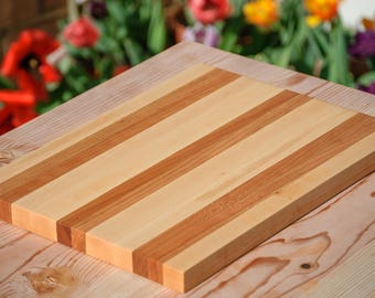 Cutting Board - Maple and Doubled Striped Cherry
