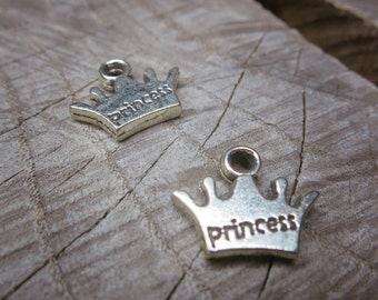 Princess Crown Charm Pendant Charms ~2 pieces #100277