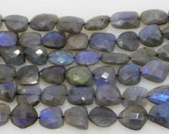 natural blue labradorite facetted flat nugget