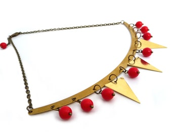 Gold brass garland necklace, triangles and red glass beads, geometric jewelry