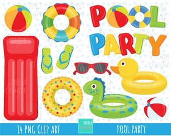 50% SALE pool party clipart, summer clipart, commercial use, pool graphics, pool toys clipart, instant download, party, summer, water toys