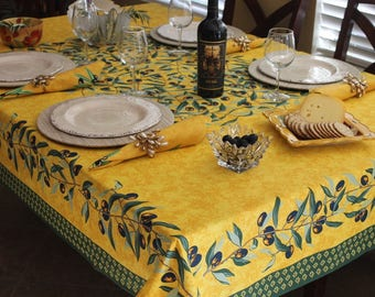 French Provence PITCHOLINE Rectangle Cotton Tablecloth - French Country Olives Tablecloths - French Chic Home Decor - Table Decor Gifts