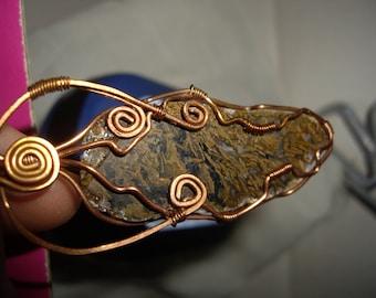 Moss Agate Copper Pendant