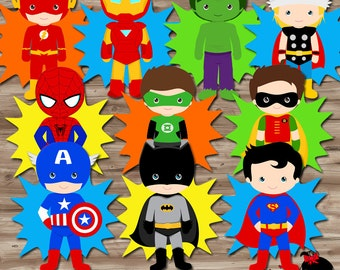 Superhero Birthday Party Supplies, Diy Character PopUps Decorations Table Centerpiece Decor, Digital Printable 10 Characters - PDF File