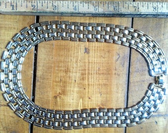 Gold-Tone Wide Flat Link Chain Necklace (#1)